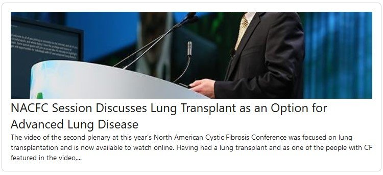 NACFC Session Discusses Lung Transplant as an Option for Advanced Lung Disease